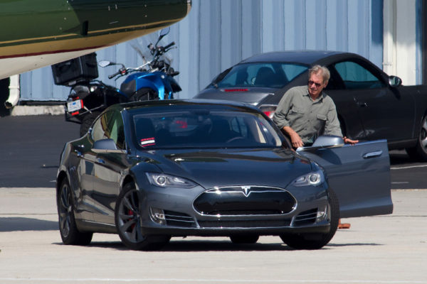 Exclusive__Harrison Ford is a green person, he is driving a Tesla, 100% electric, and private green jet and other green color aircraft... today Harrison Ford take off to St, John International Airport in Canada after a stop to Green Bay.