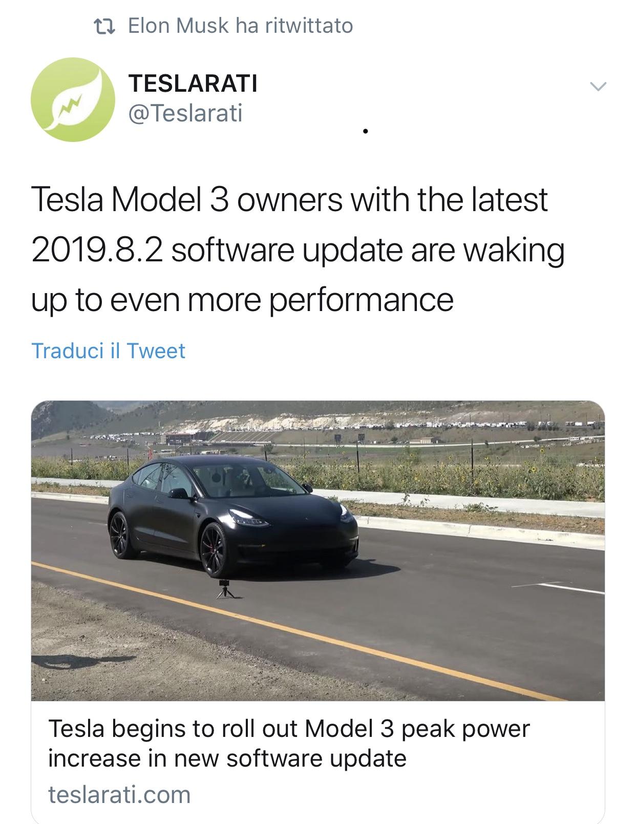Model3 diventa più veloce. Via software.